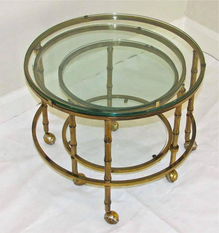 3 Tier Swivel Extending Faux Brass Bamboo Cocktail Table At 1stdibs