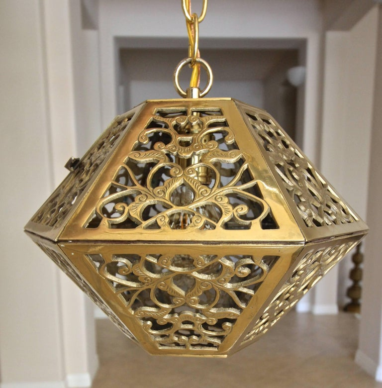 Trio Pierced Brass Asian Hexagon Shaped Ceiling Pendant Lights For 3