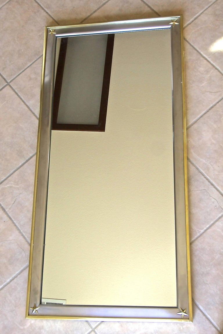 Italian French Rectangle Directoire Brass Steel Wall Mirror