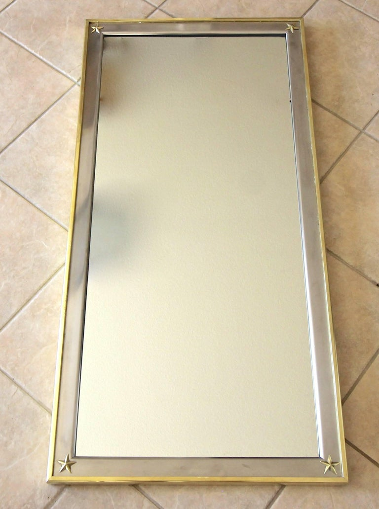 French Rectangle Directoire Brass Steel Wall Mirror 5