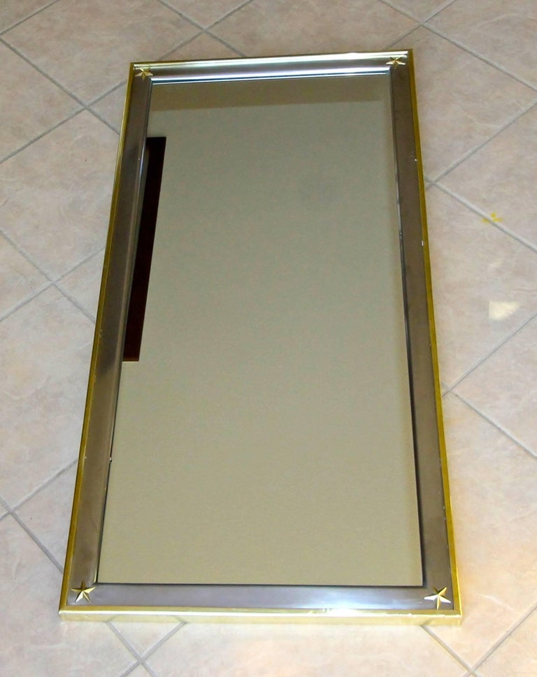 French Rectangle Directoire Brass Steel Wall Mirror 1