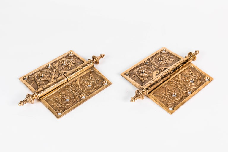 American Two Victorian Cast Brass Hinges For Sale