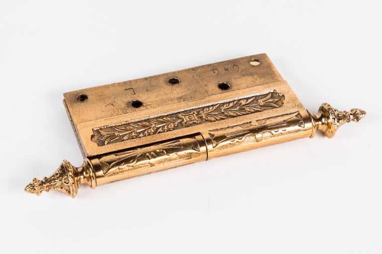 Two Victorian Cast Brass Hinges For Sale 3