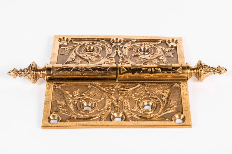Two Victorian Cast Brass Hinges For Sale 1