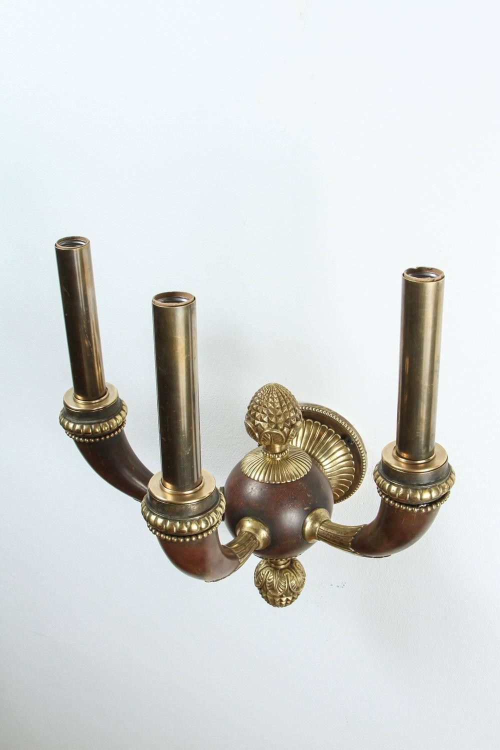 Pair of Empire Style Cast Bronze Wall Sconces at 1stdibs