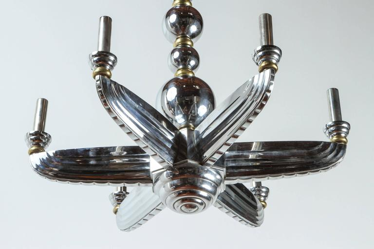 French Brass and Chrome Art Deco Chandelier In Good Condition For Sale In Los Angeles, CA