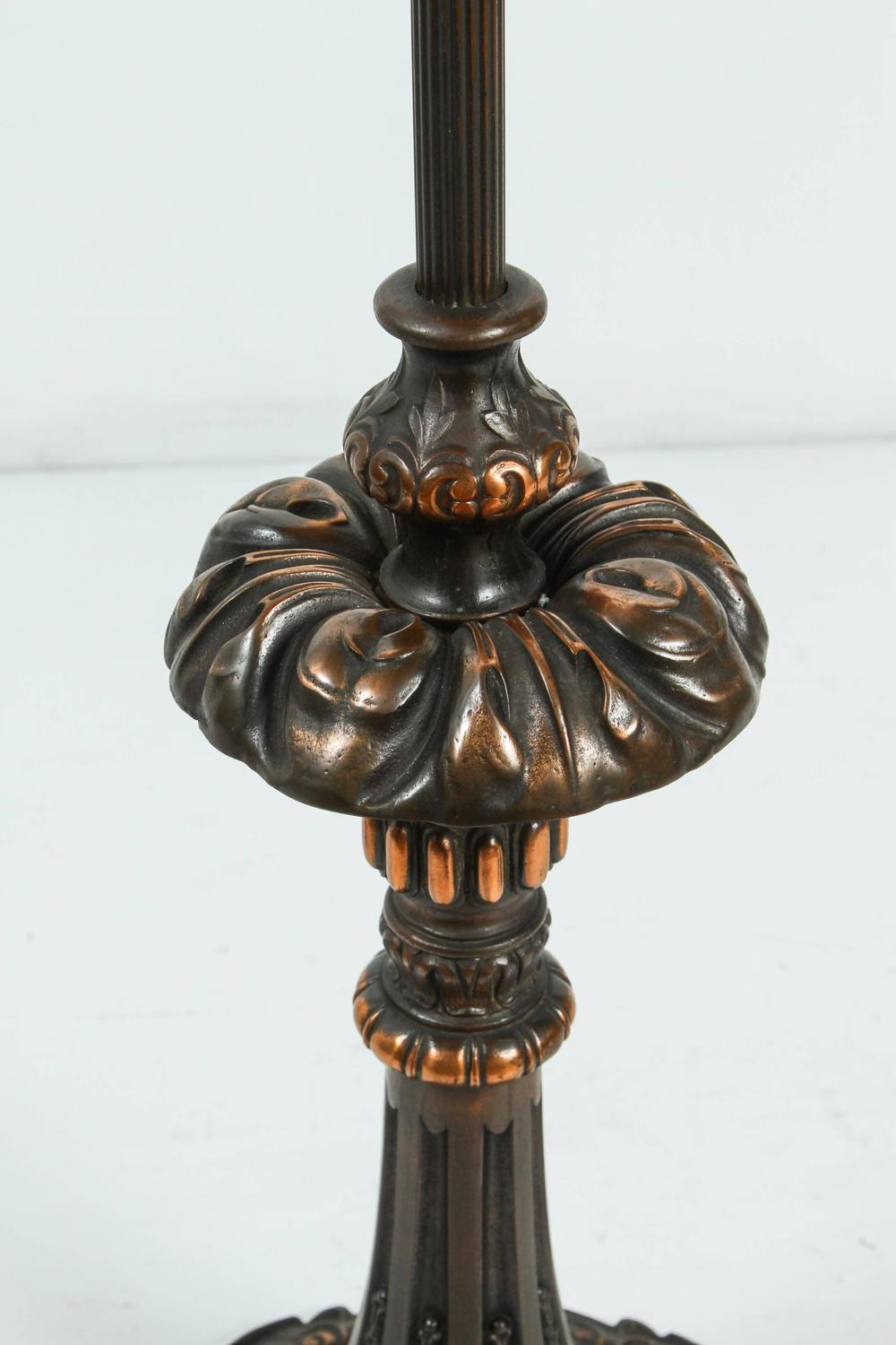 Pair Of American Cast Iron And Brass Floor Lamps For Sale