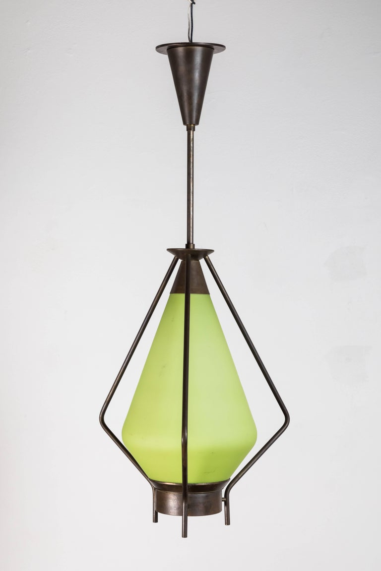 Midcentury Green Glass Pendant For Sale 1