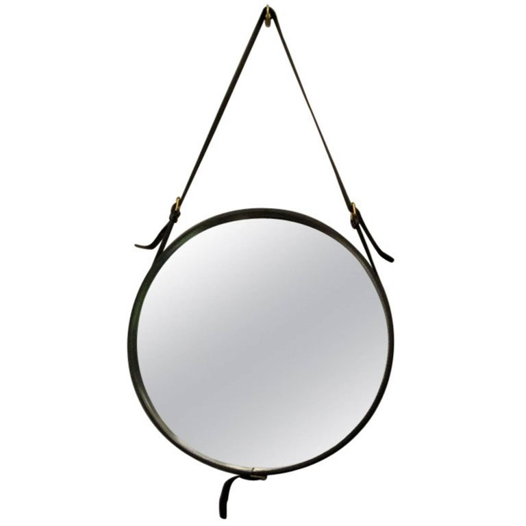 Round Mirror in Black Leather by Jacques Adnet, France, 1950