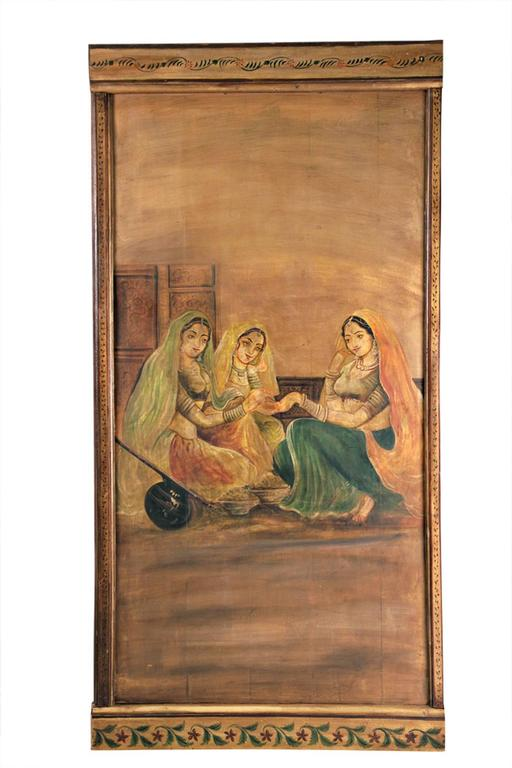 Six Decorative Lacquered Panels with Hindu Paintings, circa 1920-1930 In Good Condition For Sale In Paris, FR