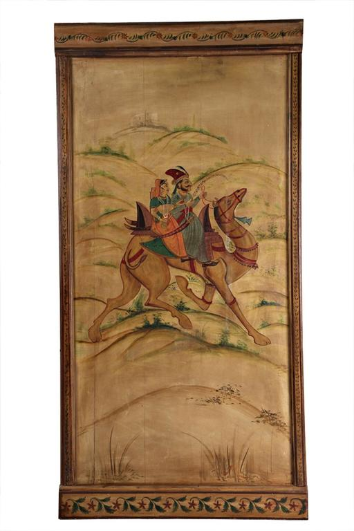 Teak Six Decorative Lacquered Panels with Hindu Paintings, circa 1920-1930 For Sale