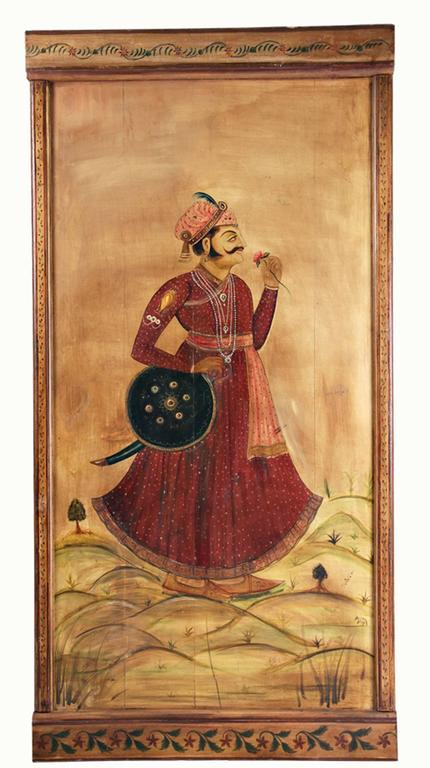 Six Decorative Lacquered Panels with Hindu Paintings, circa 1920-1930 For Sale 1