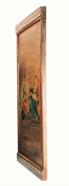 Six Decorative Lacquered Panels with Hindu Paintings, circa 1920-1930 For Sale 3