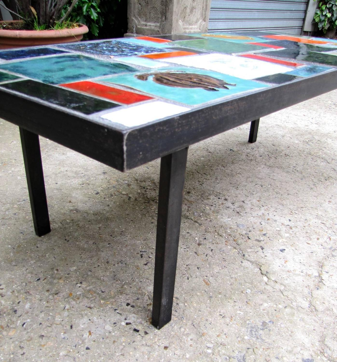 Coffee Table With Africanist Decor France 1950 For Sale At 1stdibs