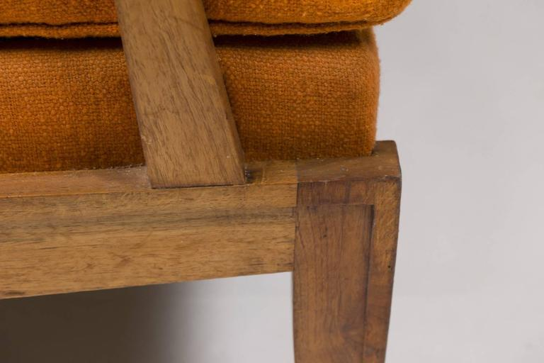 Upholstery French 1940s Canapé in Walnut Attributed to Maurice Jallot For Sale
