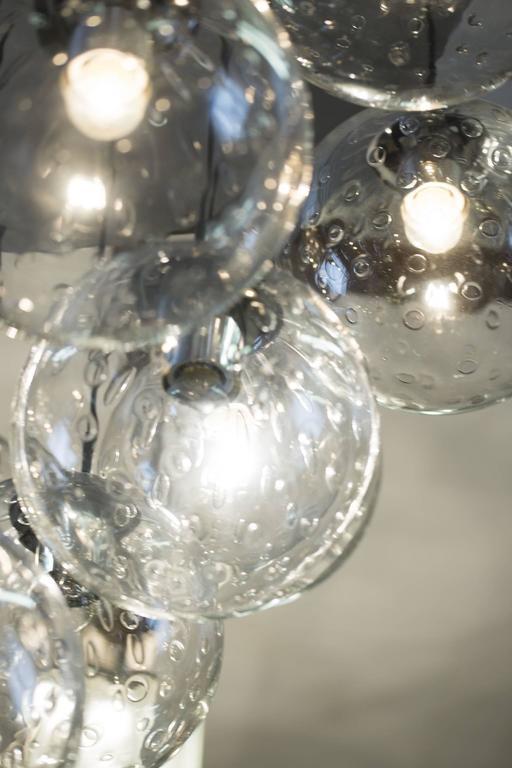 Dutch 1970s Huge Glass Balls Chandelier by RAAK Amsterdam For Sale