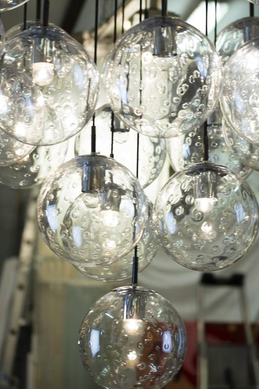 Mid-20th Century 1970s Huge Glass Balls Chandelier by RAAK Amsterdam For Sale