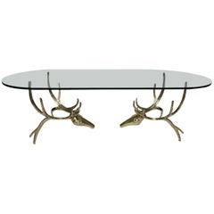 "Rare Table Bases ""Deers"" by Alain Chervet, France, 1982 with Glass Tray"