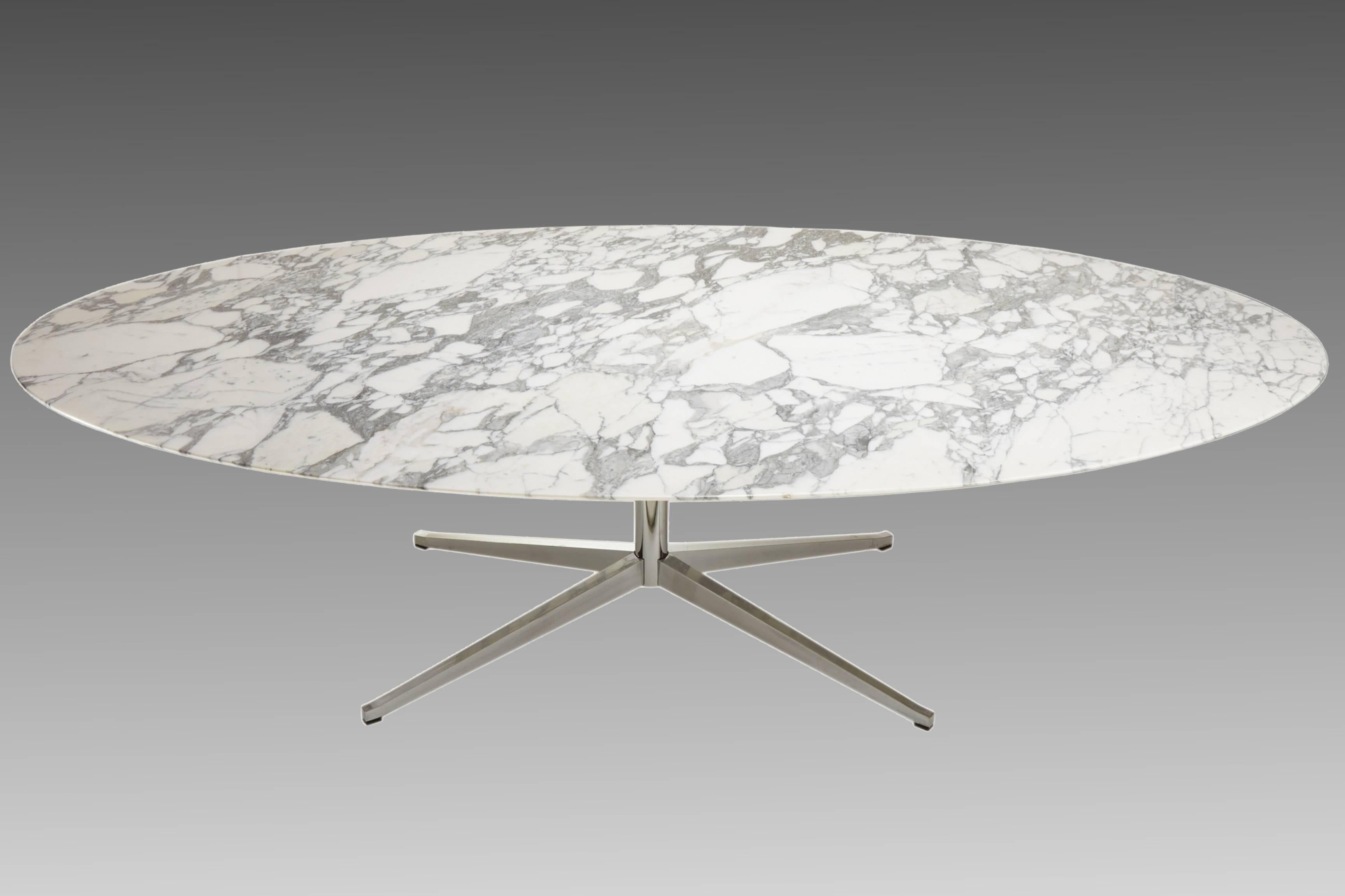 Superieur Large Ovale Dining Table In Arabescato Marble By Florence Knoll, Circa 1965  At 1stdibs