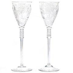 Art Deco Crystal Water Goblets Set of 12 Extra Tall