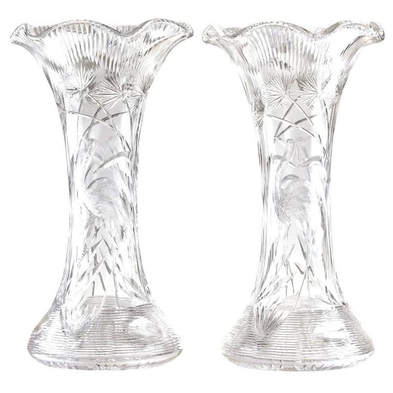 Pair Of Monumental Cut Crystal Vases By Libbey For Sale At 1stdibs