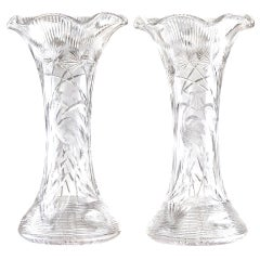 Pair of Monumental Cut Crystal Vases by Libbey