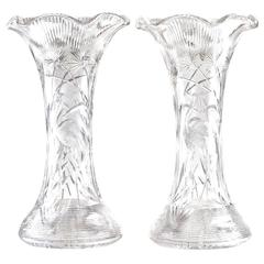 Massive Libbey Cut Crystal Exhibition Vases with Herons