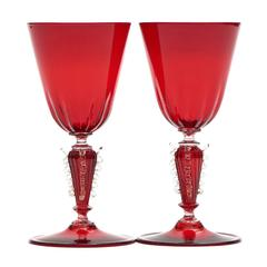 12 Venetian Wine Glasses in Ruby