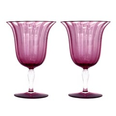 Stunning and Rare 12 Steuben Optic Rib Amethyst Water Goblets