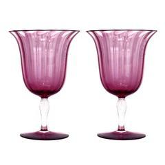 Stunning and Rare 12 Steuben Optic Rib Amethyst Water Goblets