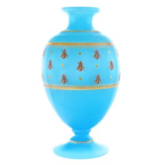 Antique Baccarat Blue Opaline Vase with Golden Bees