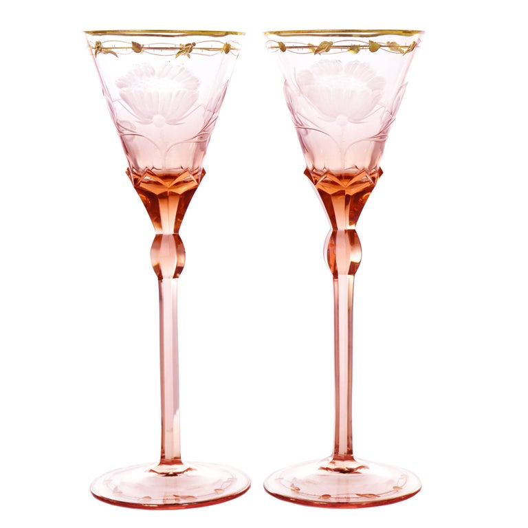 12 Moser Paula Pattern Water Goblets in Rose Color