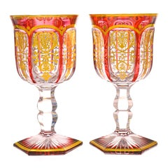 14 Baccarat Empire Ruby Water Goblets, circa 1860s