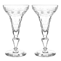 Eight Crystal Hollow Stem Champagne Goblets, circa 1895, England