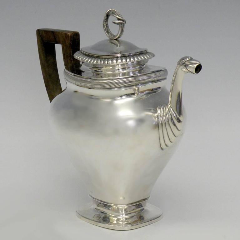 Gorgeous Sterling Coffee Pot by Albertus Homan Circa 1830s For Sale 3