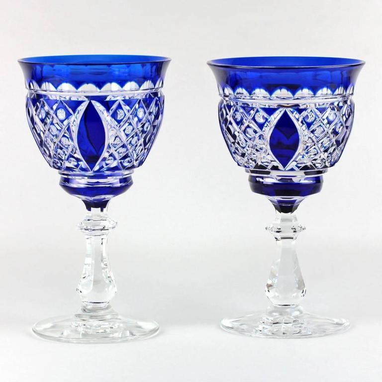 18 val st lambert cobalt blue water goblets stemware 3