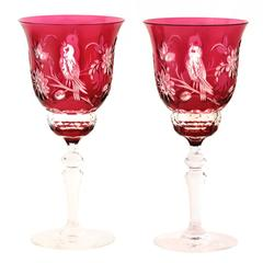 Val St. Lambert Bird Pattern Water Goblets in Cranberry