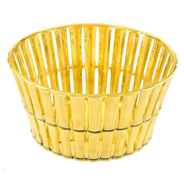 Mid-Century Modern Tiffany & Co. Gilded Sterling Bamboo Pattern Centerpiece For Sale