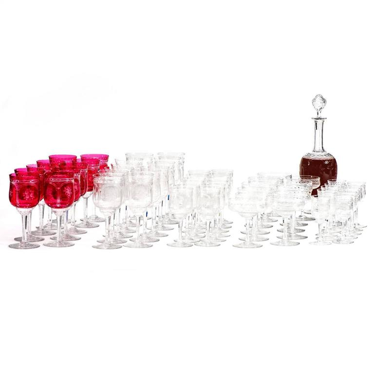 57-Piece Set of Baccarat Crystal Stemware In Excellent Condition For Sale In Litchfield, CT