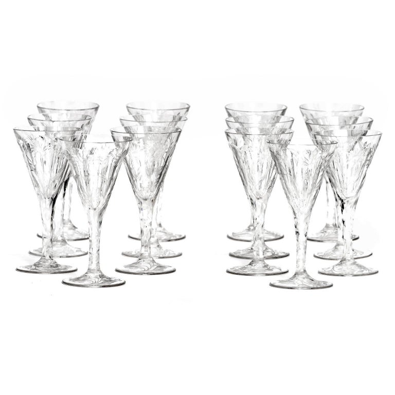 Belgian Set of 14 Hafnia Pattern Engraved Val St.Lambert Water Goblets For Sale
