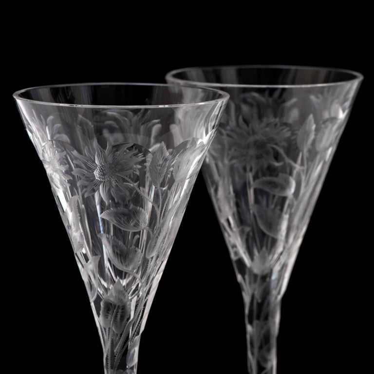 Mid-20th Century Set of 14 Hafnia Pattern Engraved Val St.Lambert Water Goblets For Sale