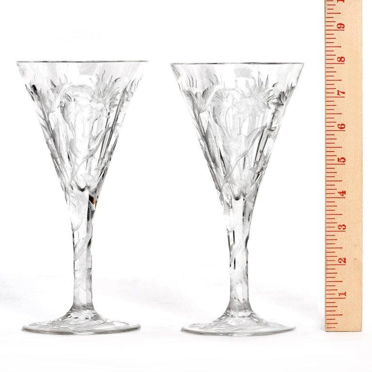 Crystal Set of 14 Hafnia Pattern Engraved Val St.Lambert Water Goblets For Sale