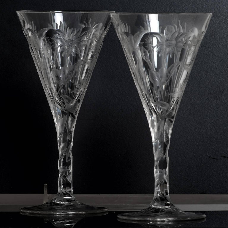 Set of 14 Hafnia Pattern Engraved Val St.Lambert Water Goblets For Sale 1