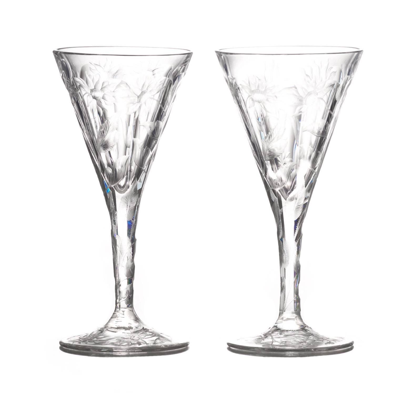 Set of 14 Hafnia Pattern Engraved Val St.Lambert Water Goblets