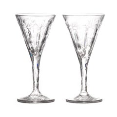 Set of 14 Hafnia Pattern Engraved Val St.Lambert Water Goblets