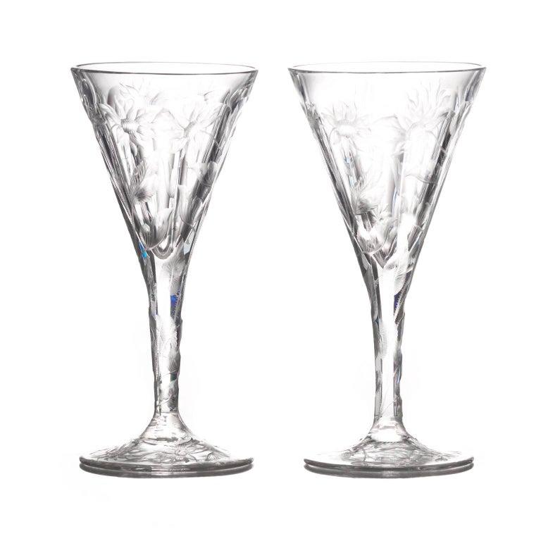 Set of 14 Hafnia Pattern Engraved Val St.Lambert Water Goblets For Sale