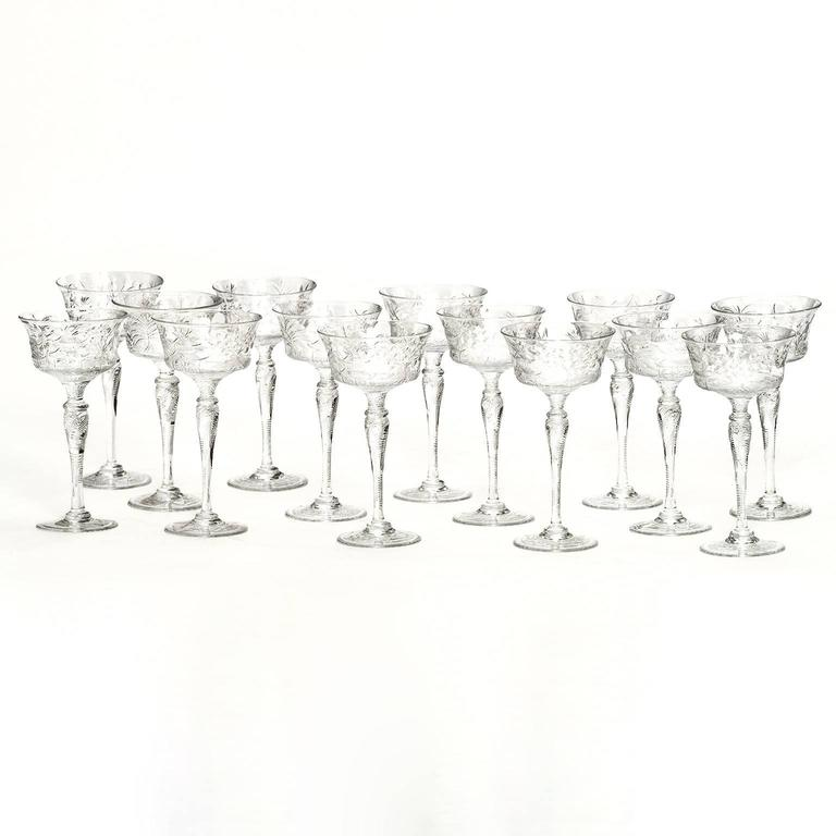 English Set of 14 Stevens & Williams Chinoiserie Champagne-Cocktail Goblets For Sale