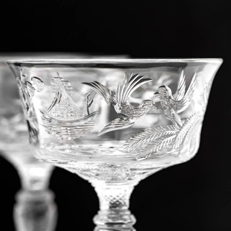 Early 20th Century Set of 14 Stevens & Williams Chinoiserie Champagne-Cocktail Goblets For Sale