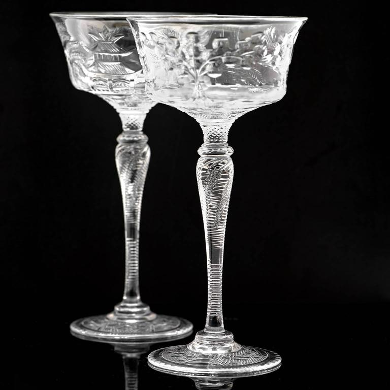 Set of 14 Stevens & Williams Chinoiserie Champagne-Cocktail Goblets For Sale 2