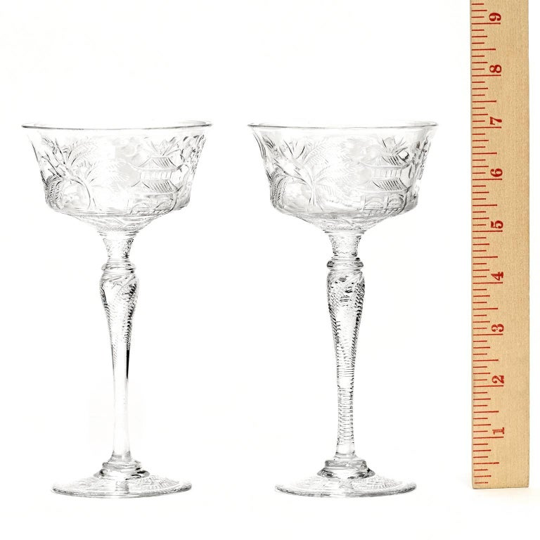 Crystal Set of 14 Stevens & Williams Chinoiserie Champagne-Cocktail Goblets For Sale
